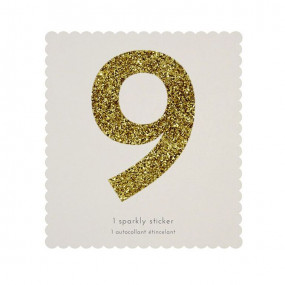 Número Autocolante Glitter - 9