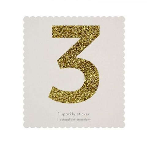 Número Autocolante Glitter - 3