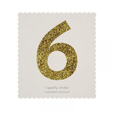 Número Autocolante Glitter - 6