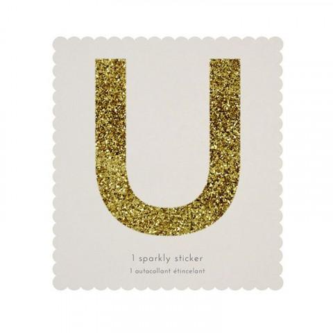 Letra Autocolante Glitter - U
