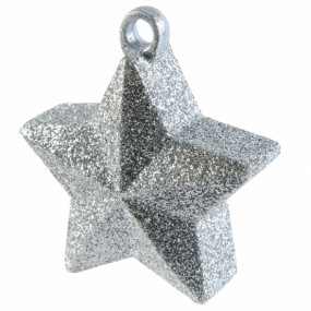 Peso Balão Estrela Prata Glitter