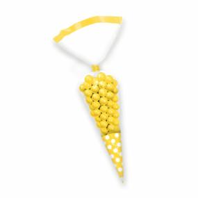 Sacos Cone Bolinhas Celofane Amarelo