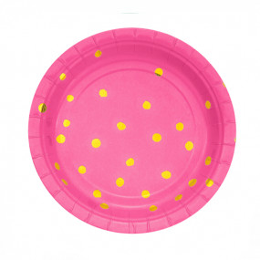 Pratos Rosa Dots Gold
