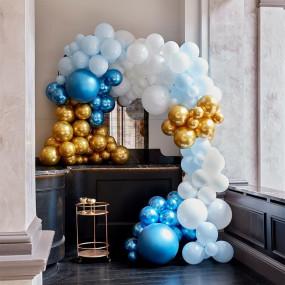 Arco Luxo Azuis, Branco e Dourado
