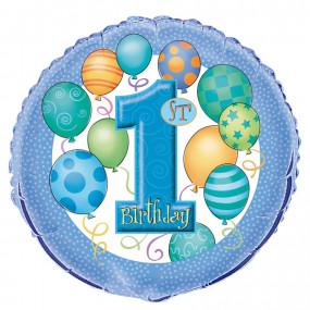Balão 1º Aniv. Azul 45cm