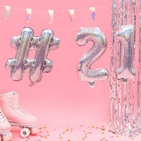 Balões Números Pequenos Iridiscentes