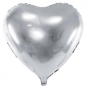 Balão Coração Prateado 45cm