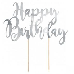 Topo Bolo Happy Birthday Prata