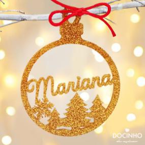 Bola Natal Personalizada Glitter Ouro