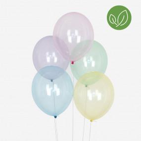 10 Balões Pastel Cristal BIO
