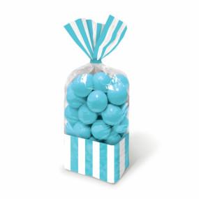 Sacos Celofane Riscas Azul Turquesa