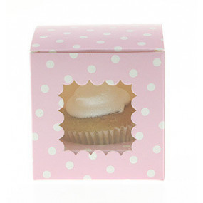 Caixa 1 cupcake Rosa Bolinhas