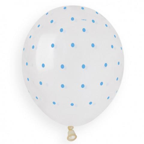 Balão Transparente Pintas Azuis