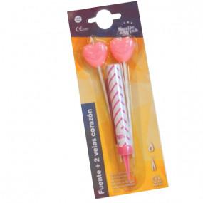 Foguete Rosa + 2 Velas