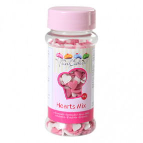 Confetis Corações rosa e branco