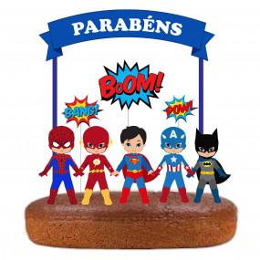 Topo Super Heróis Azul