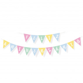 Grinalda Feliz Aniversário Pastel