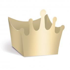 Forminhas Brigadeiro Coroa Dourado Metálico - Conj. 24