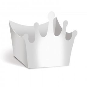 Forminhas Brigadeiro Coroa Prata Metalico - Conj. 24