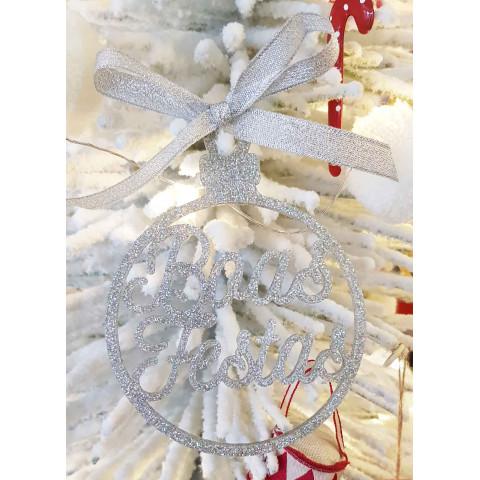 Bola Natal Personalizada Glitter Prata