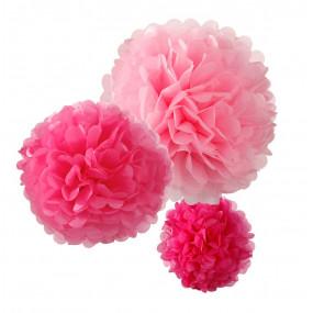 Conj. 3 PomPons Rosa