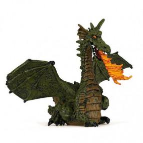 Dragão Alado Verde com Fogo