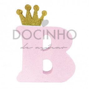 Letra Rosa Coroa Dourada