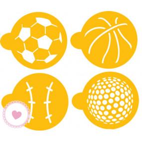 4 Stencils para Bolachas - Bolas de Desporto