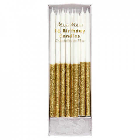 Velas Altas Brancas Glitter Dourado