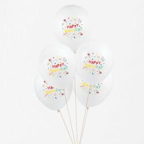 5 Balões HAPPY BIRTHDAY