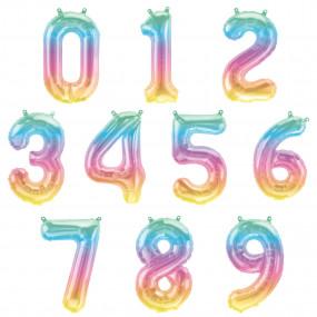 Balões Números Pequenos Pastel Ombre