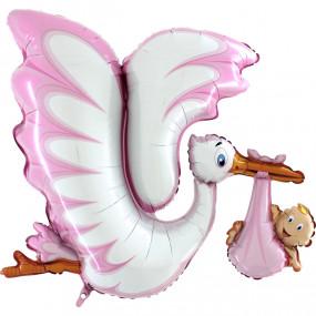 Balão Cegonha Menina 135CM