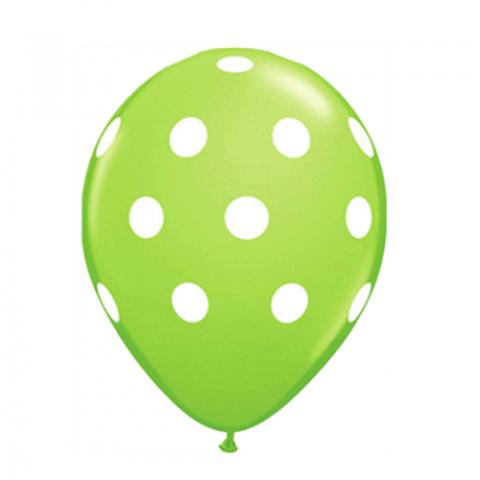 6 Balões Verde Bolinhas