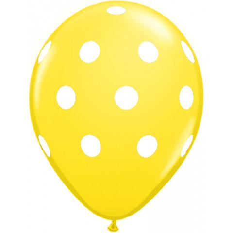 10 Balões Amarelos Bolinhas