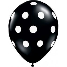 6 Balões Pretos Bolinhas