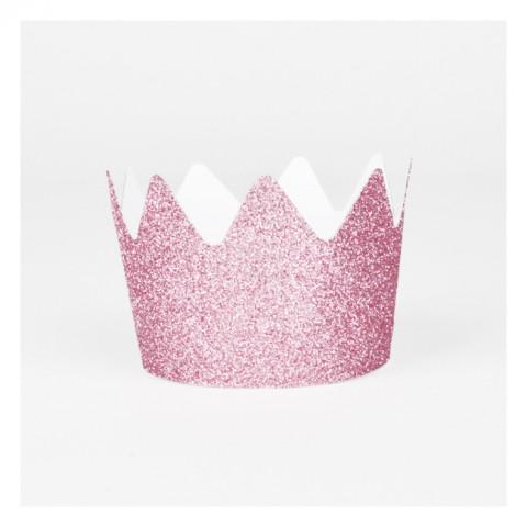 8 Coroas Glitter Rosa