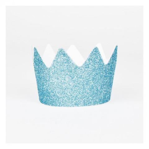8 Coroas Glitter Azul