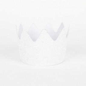 8 Coroas Glitter Brancas