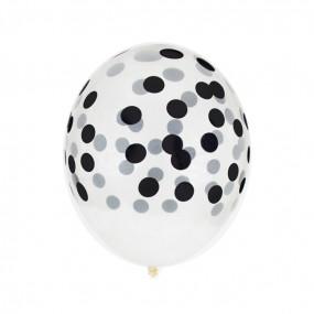 5 Balões Confetis Pretos Impresssos