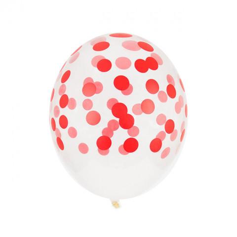 5 Balões Confetis Vermelho Impresssos