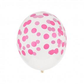 5 Balões Confetis Rosa Forte Impresssos