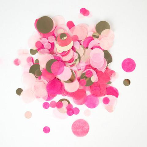 Confetis Rosa  Dourado 2.5cm