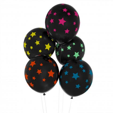 5 Balões Estrelas Néon