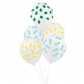 5 Balões Confetis Frutas Impressos
