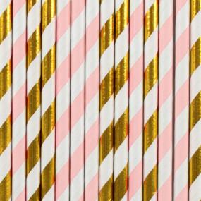 Palhinhas Riscas Rosa Dourado