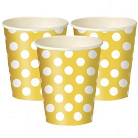6 Copos Papel Bolinhas Amarelos