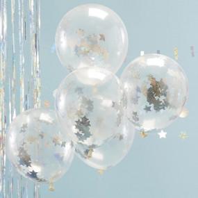 Balões Confetis Estrelas Iridiscentes - Conj. 5