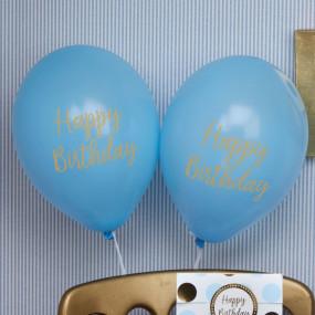 8 Balões Azuis Happy Birthday Gold