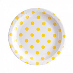 12 Pratos Brancos Bolas Amarelas 18cm