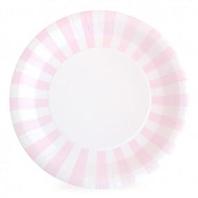 12 Pratos Rosa Claro RISCAS 23cm